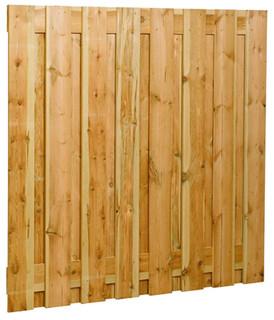 Fijnbezaagd plankenscherm grenen 17-planks 17 mm 180 x 180 cm, verticaal recht.
