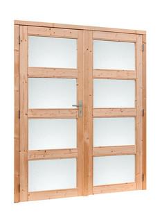 Douglas dubbele 4 ruits deur inclusief kozijn. 169 x 201,5 cm, groen geïmpregneerd.