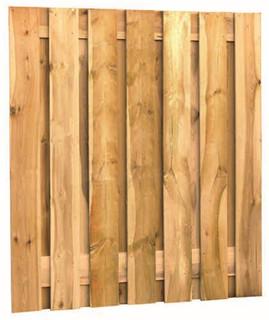 Fijnbezaagd plankenscherm grenen 15-planks 20 mm 180 x 200 cm, verticaal recht, groen geïmpregneerd.