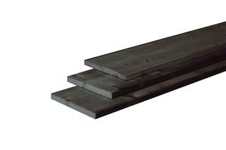 Douglas plank fijnbezaagd 2,2 x 20 x 300 cm, zwart gedompeld.