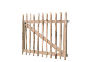 Looppoortje tamme kastanjehout met beslag en 2 steunpalen, 100 x 100 cm.