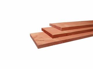 Douglas fijnbezaagde plank 1,5 x 14,0 x 180 cm, groen geïmpregneerd.
