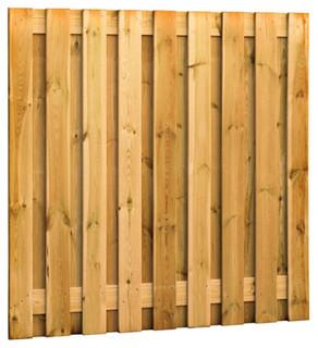 Geschaafd plankenscherm grenen 19-planks 15 mm 180 x 180 cm, verticaal recht, groen geïmpregneerd.