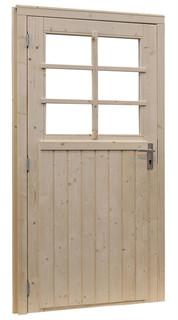 Vuren enkele 6-ruits deur extra breed linksdraaiend inclusief kozijn, 114 x 201,5 cm, groen geïmpregneerd.