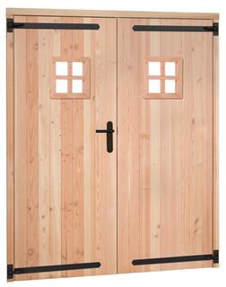 Douglas dubbele 1 ruits deur inclusief kozijn. 169 x 201,5 cm, groen geïmpregneerd.
