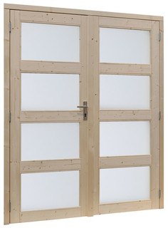 Vuren dubbele glasdeur 4-ruits, inclusief kozijn afm 169 x 201,5 cm,  onbehandeld.