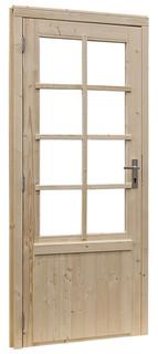 Vuren enkele 8-ruits deur linksdraaiend inclusief kozijn, 91 x 201,5 cm, groen geïmpregneerd.