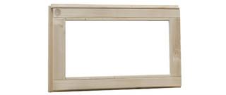 Vuren vast raam met blank glas, afm 72 x 45 cm, groen geïmpregneerd.