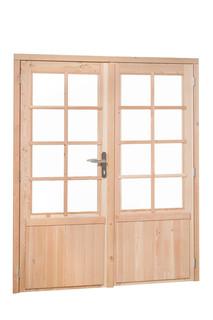 Douglas dubbele  8 ruits deur inclusief kozijn. 169 x 201,5 cm, groen geïmpregneerd.