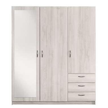 3 Deurs Kledingkast Met Spiegel.Kledingkast Varia 3 Deurs Met Spiegel White Wash 171x146x50 Cm