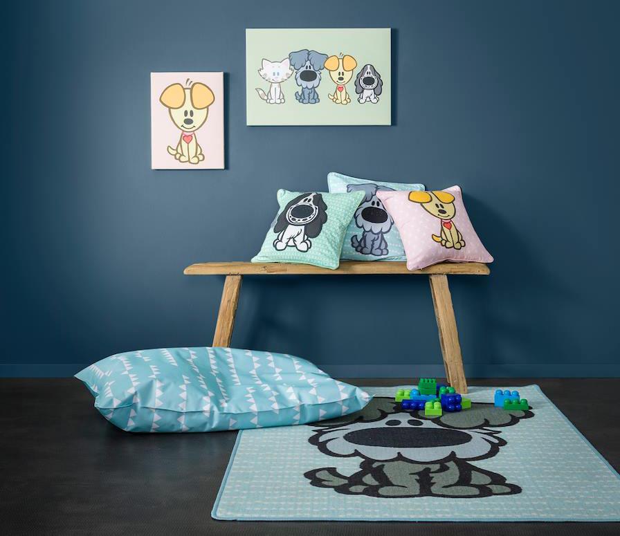 decoreer je kamer met sierkussens en canvas schilderijen van woezel en pip