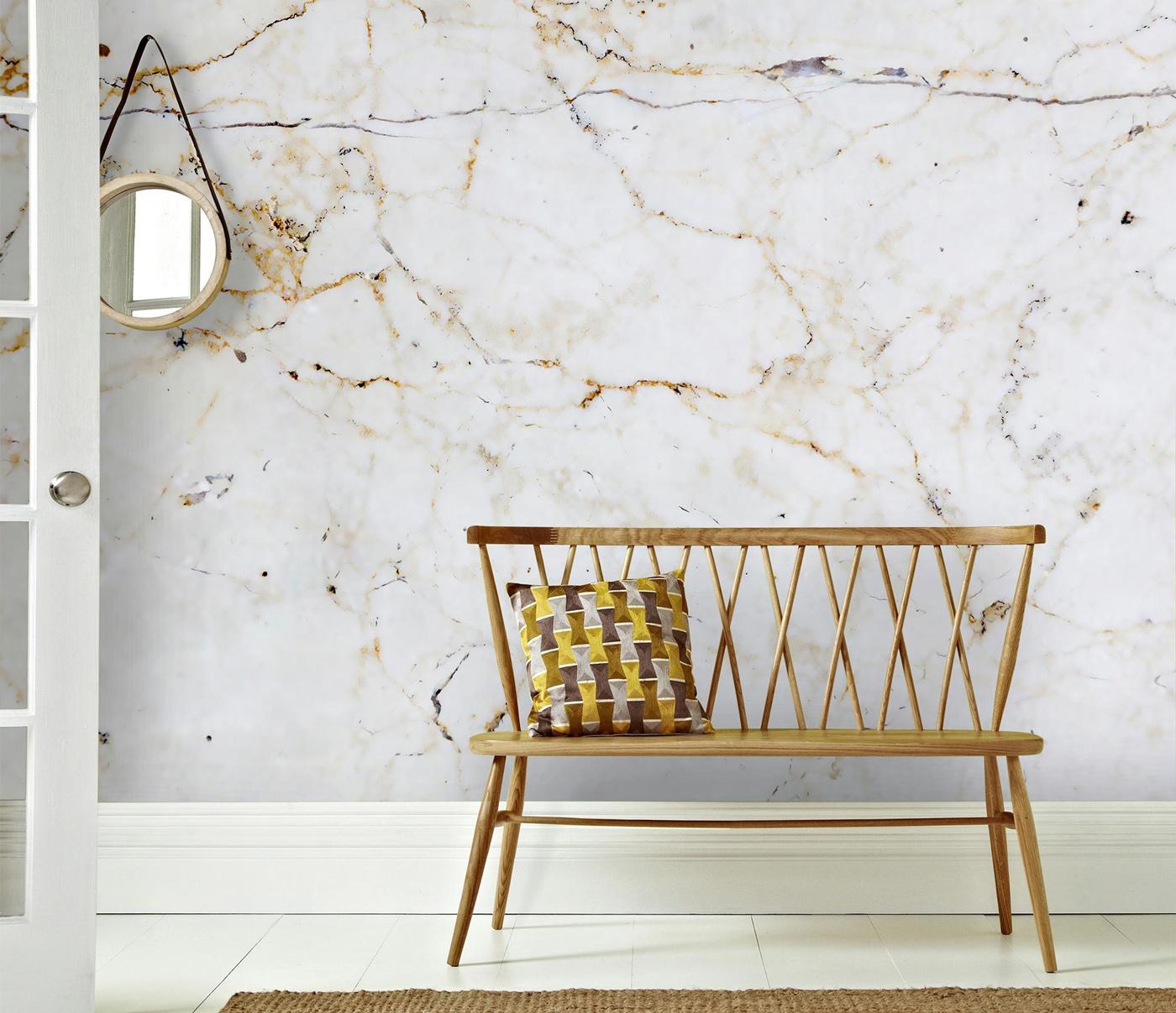 Met het fotobehang Milano (dessin 101872) creëer je een stijlvol effect in jouw woning. Dit behang heeft een print van marmer. Gaaf!