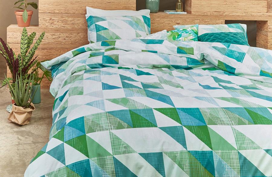 Groen-blauw patroon voor jouw Botanical slaapkamer.