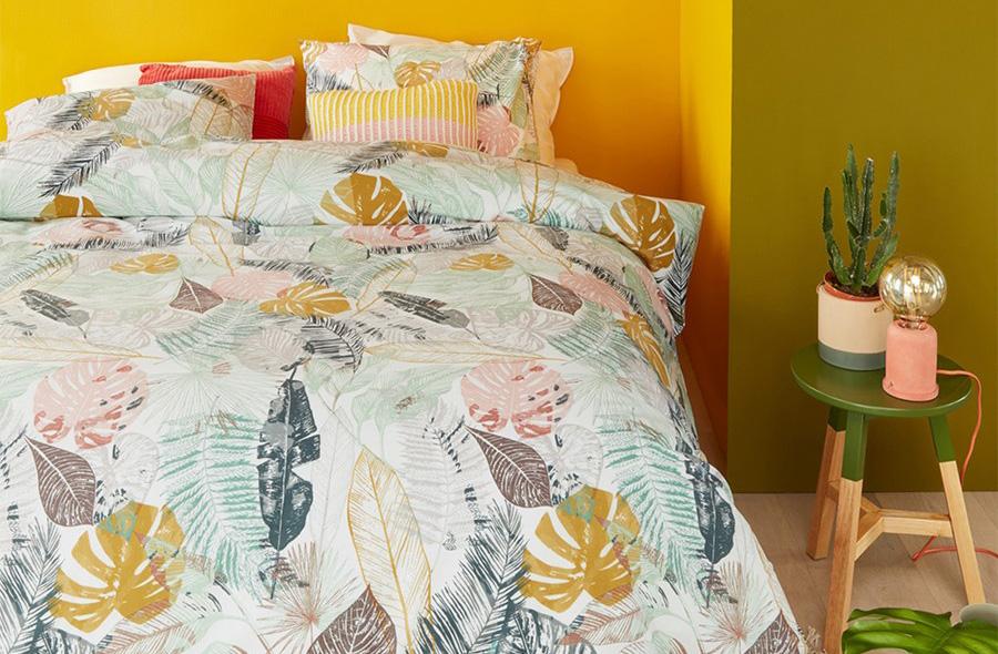 Botanische print om je slaapkamer helemaal trendy te decoreren.
