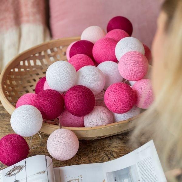 Pink - 35 cottonballs