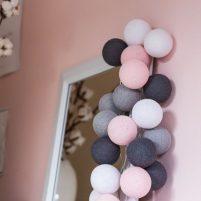 Pink Grey - 50 cottonballs