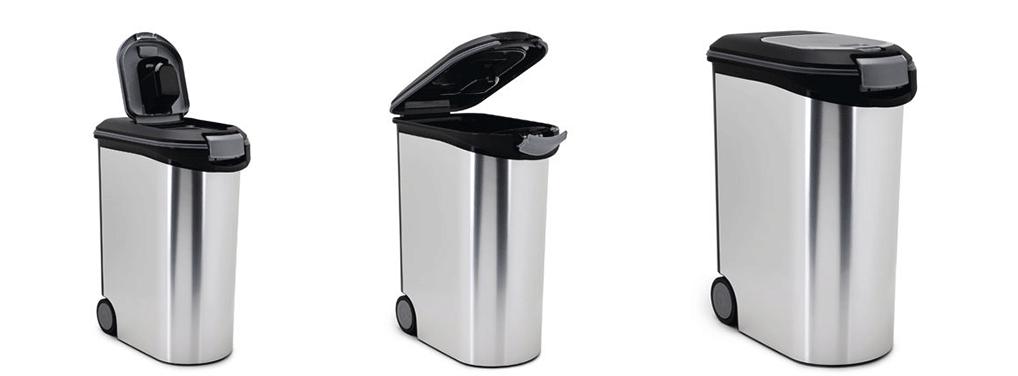 Een metallic voedselcontainer valt helemaal niet meer op wanneer je al pedaalemmers in huis hebt.