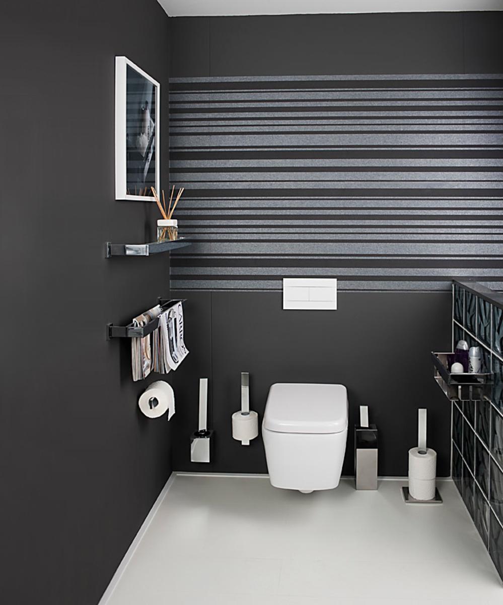 Deze strakke houders van Haceka komen goed tot hun recht in moderne wc-ruimtes.