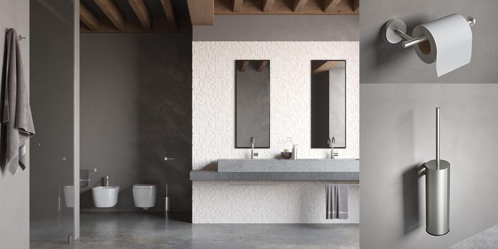 Strakke, eigentijdse toiletaccessoires van de Hotbath serie Archi in RVS.