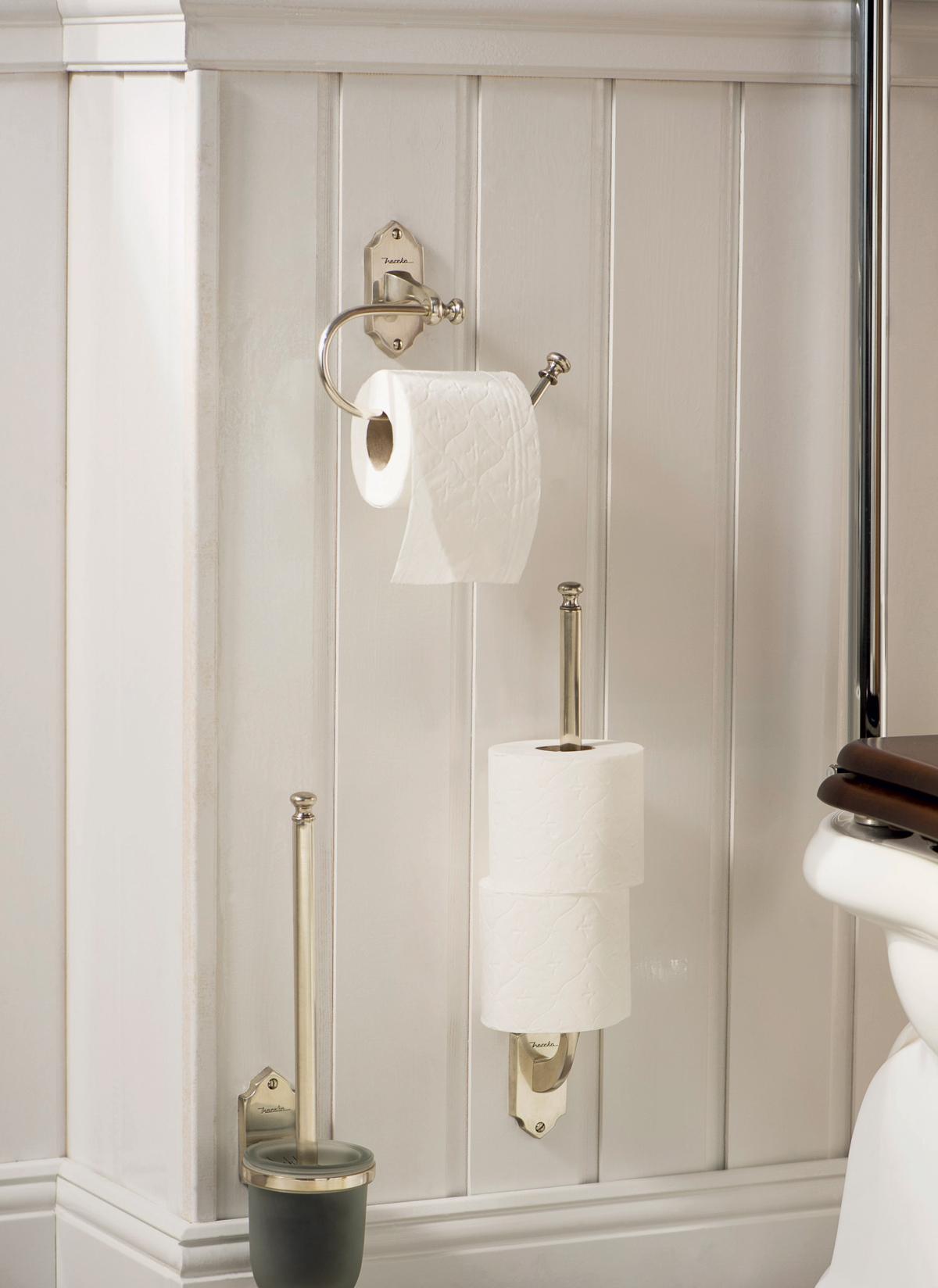 WC-borstel- en toiletpapierhouders in vintage klassiek design van Haceka.
