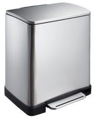 EKO Pedaalemmer E-Cube Recycling 10 + 9 ltr - Mat RVS-