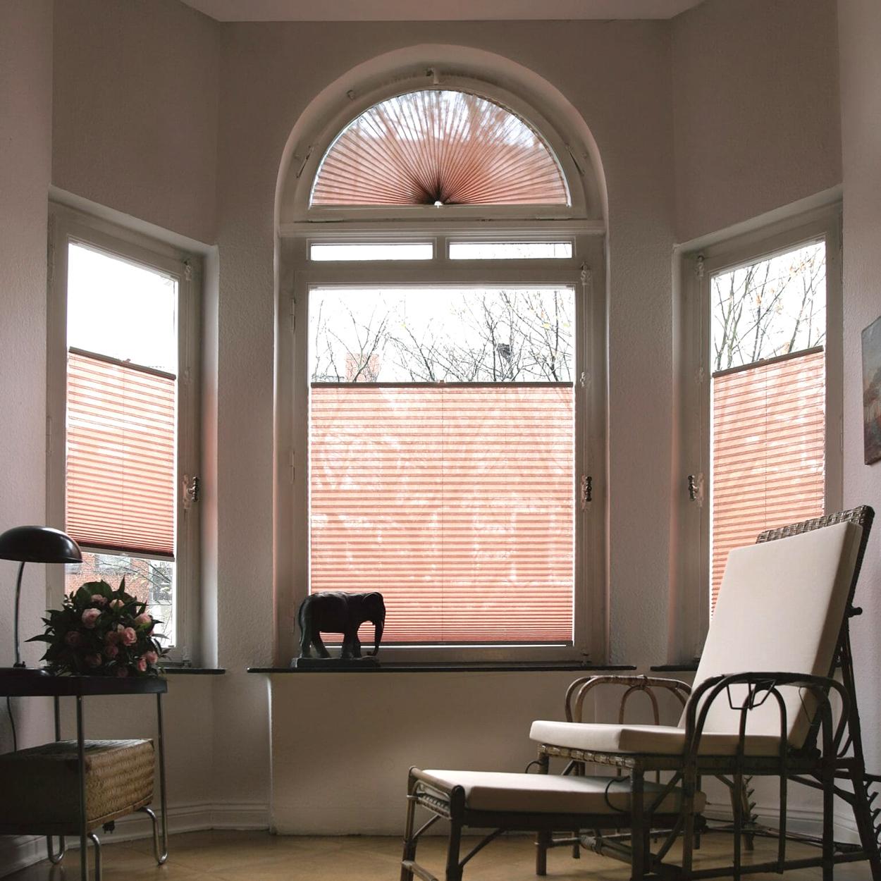 Plissé gordijnen zijn geschikt voor ramen in allerlei vormen en groottes.
