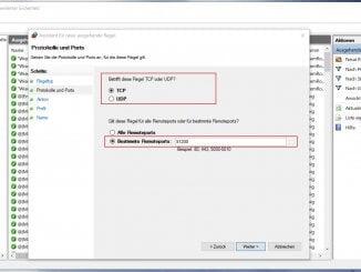 Windows Firewall mit erweiterter Sicherheit - Auswahl des Protokolls und des Ports