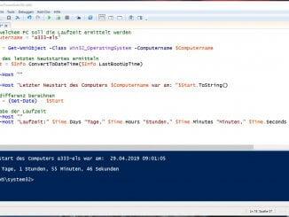 Windows PowerShell Script zum auslesen der Laufzeit eines Computers