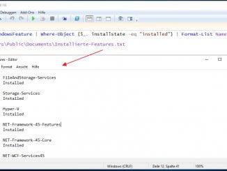 Auf dem Windows Server 2019 mit Hilfe der PowerShell alle verfügbaren Rollen und Features auflisten und in eine Textdatei speichern