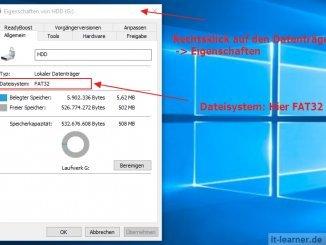 Einen FAT32 Datenträger in einen NTFS Datenträger konvertieren - Welches Dateisystem besitzt der Datenträger
