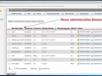 Neue administrativen Benutzer und Linux MySQL Server anlegen