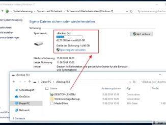 Windows Backup auf einem virtuellen Datenträger (vhdx) - Image Sicherung auf der virtuellen Festplatten anzeigen