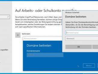 Das Betriebssystem Windows 10 - Version 1903 zur Domäne hinzufügen: Eingabe Domänennamen - Administrator und Passwort