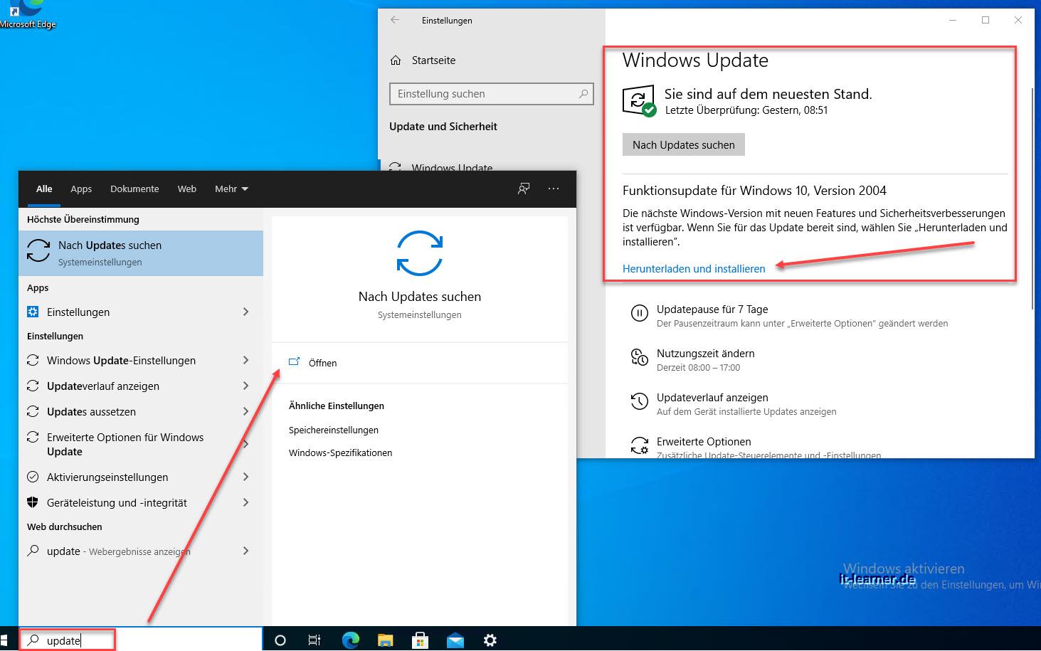 Windows Neue Funktionsupdate Installieren
