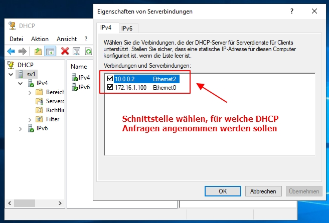 Am DHCP Server Die Zugehörigen Netzwerkkarten ändern Binding Hinzufügen Entfernen