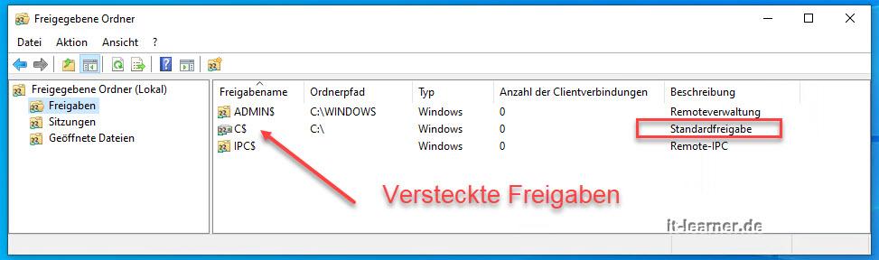 Anzeige Sämtlich Freigegebener Dateien Im Windows 10 Betriebssystem