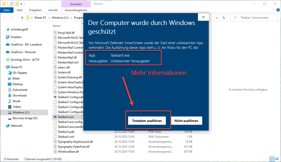 Der Windows Defender SmartScreen Schutz Lässt Die App Nicht Installieren