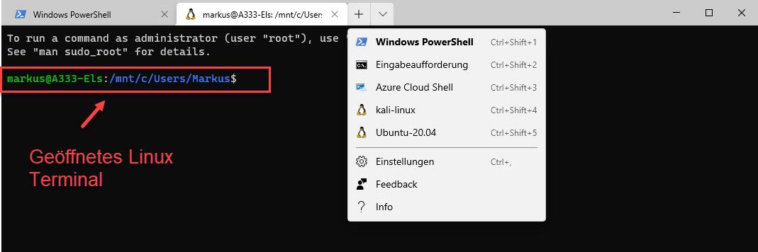 Ein Linux Terminal über Die Windows Terminal App öffnen Ubuntu 20.04 LTS Terminal Aus WSL 2.0