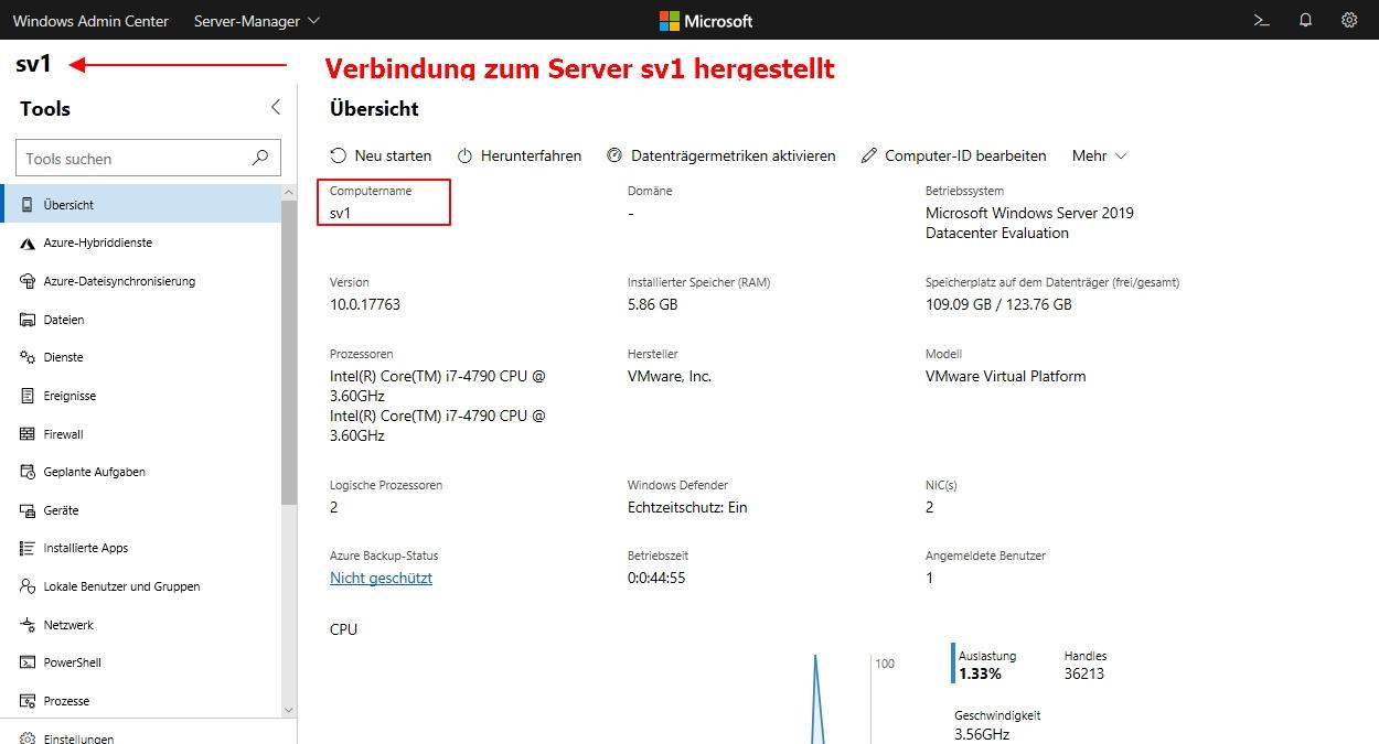 Einen Neuen Windows Server über Das Windows Admin Center Verwalten