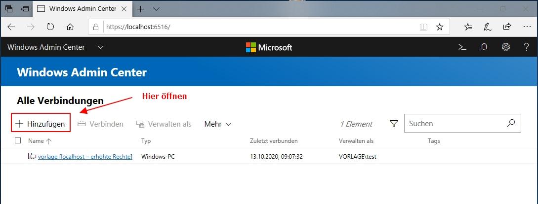 Einen Neuen Windows Server Zum Admin Center Hinzufügen