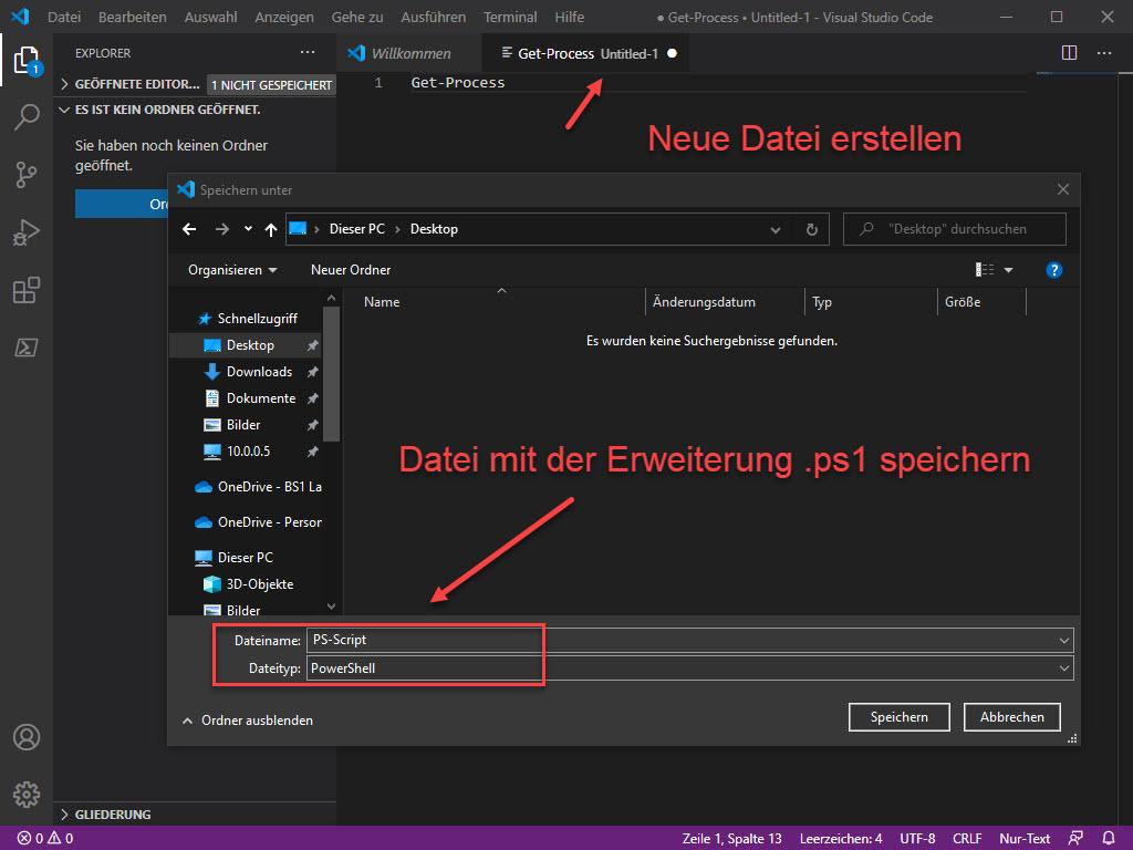 In Visual Studio Code Ein Neue PowerShell Script Erstellen