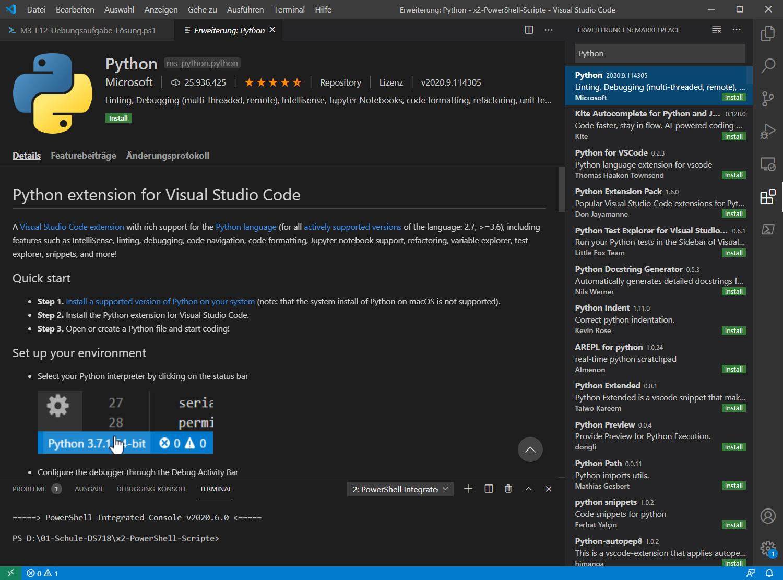 Python Erweiterung Unter Visual Studio Code Konfigurieren