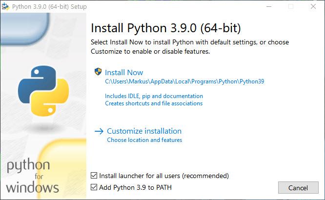 Unter Windows 10 Python Installieren