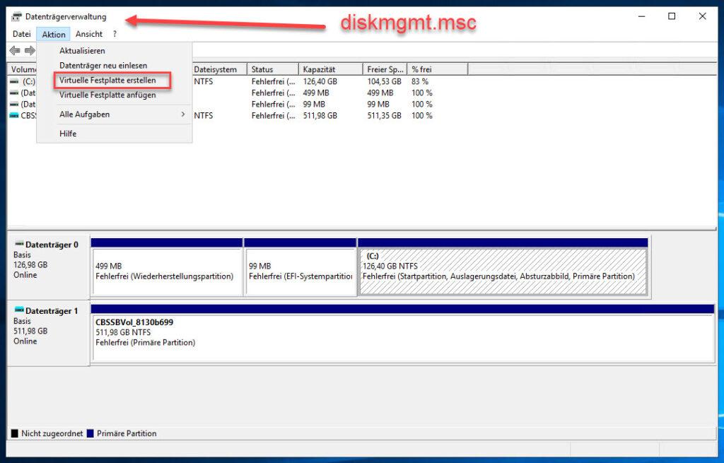Virtuelle Festplatte Im Windows Server In Der Datenträgerverwaltung Erstellen