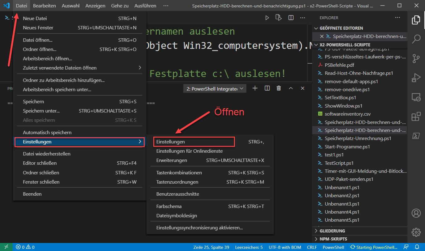 Visual Studio Code Schriftgröße Des Editors ändern 1