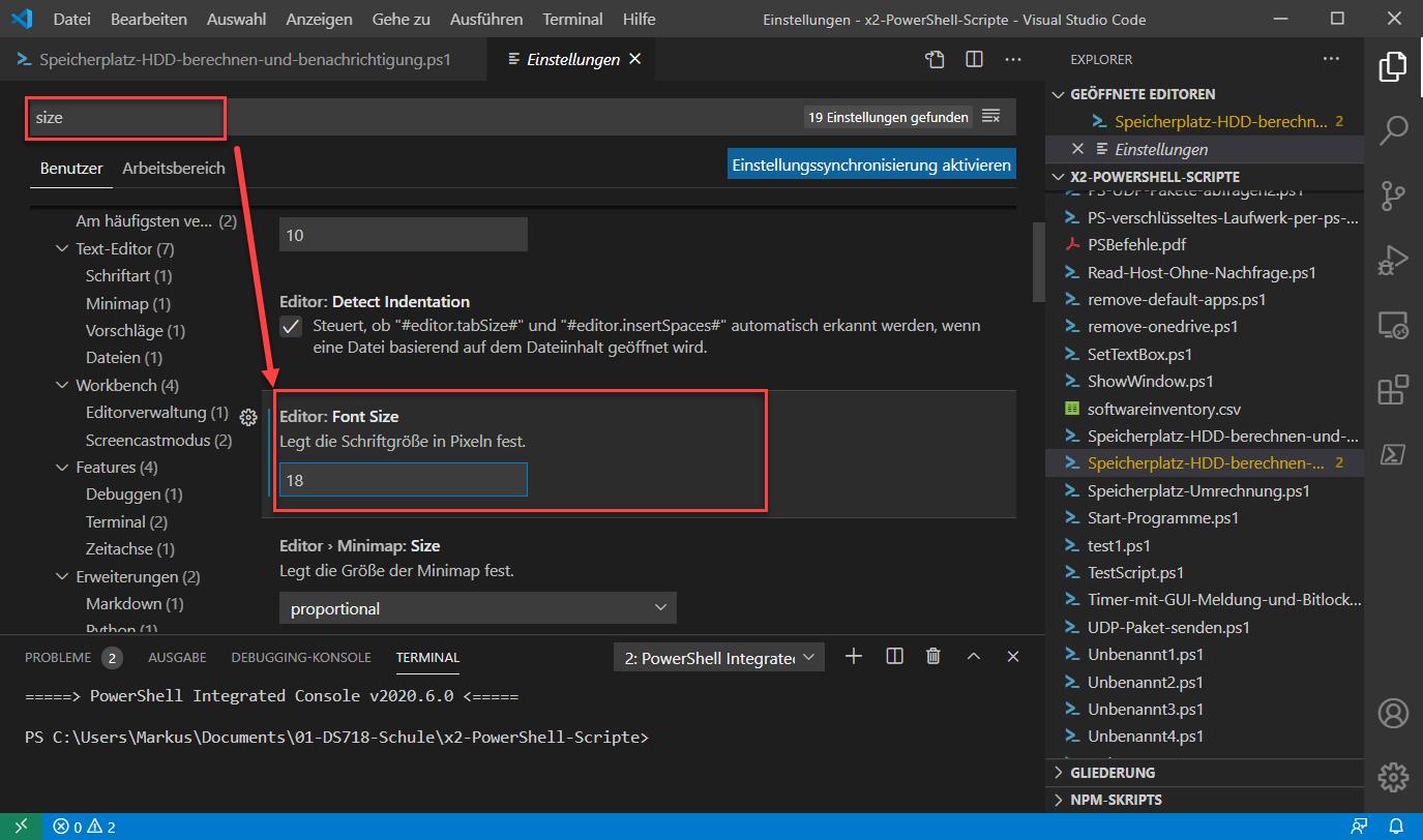 Visual Studio Code Schriftgröße Des Editors ändern 2