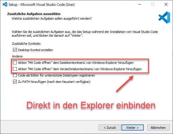 Visual Studio Code Als Erweiterung Im Dateiexplorer Einbinden