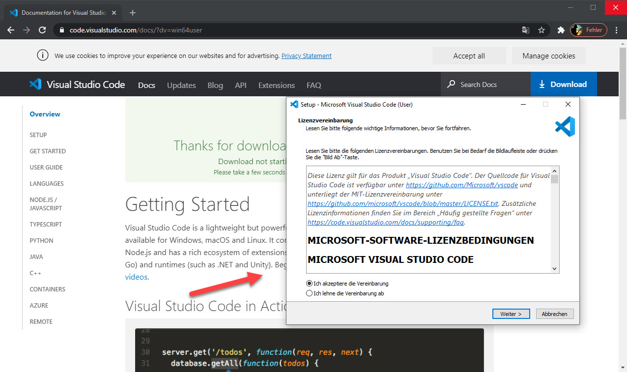 Visual Studio Code Unter Window 10 Installieren