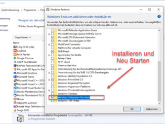 Installation des Windows Subssystem For Linux unter Windows 10