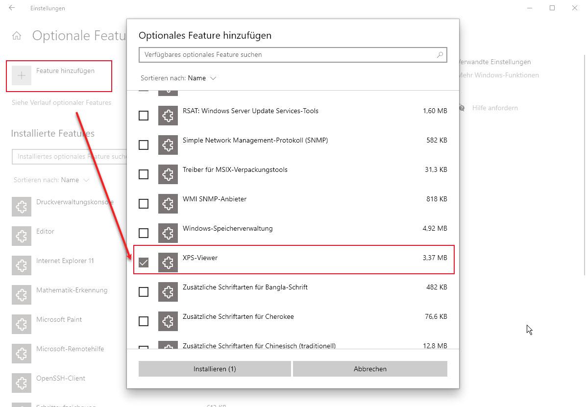 XPS Viewer Als Optionales Feature Unter Windows Wieder Hinzufügen
